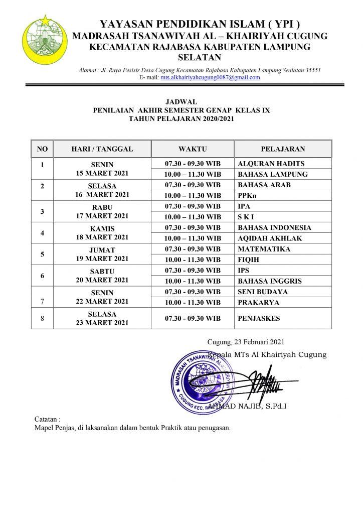 Jadwal PAS GENAP Kelas 9 2020-2021
