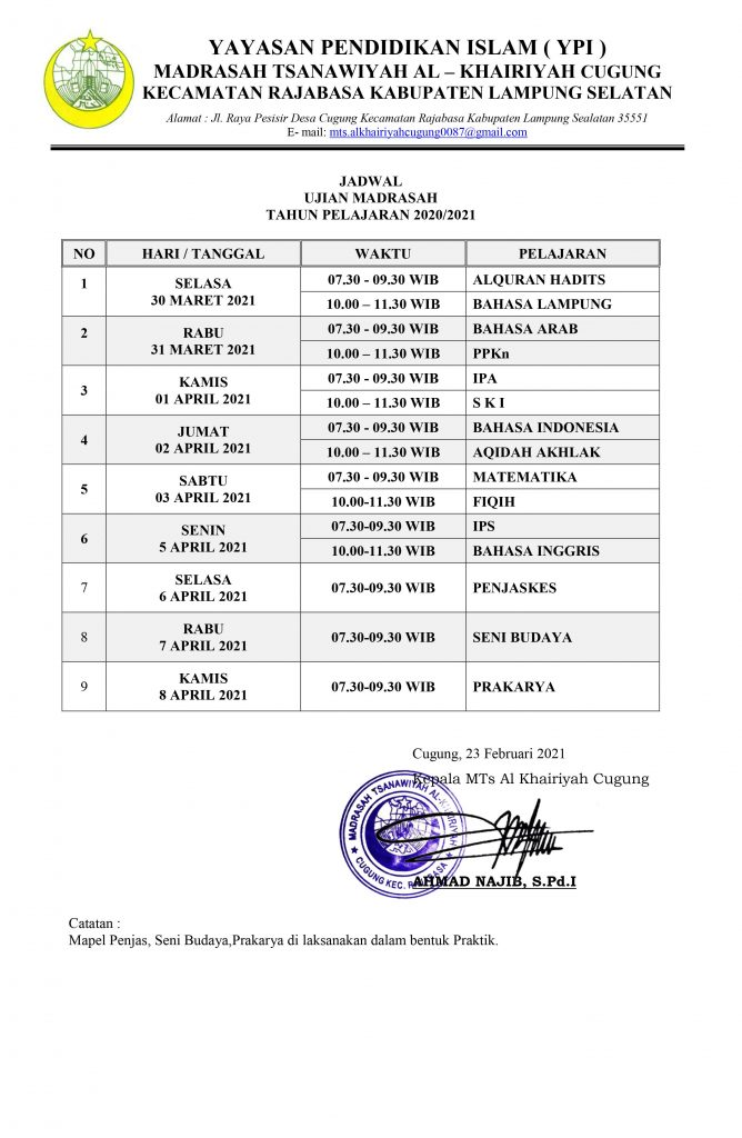Jadwal UM Kelas 9 2020-2021
